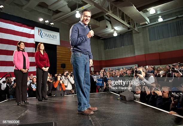 Republican presidential candidate and former MA Governor MItt Romney at a campaign rally with South Carolina Governor Nikki Haley and NH Senator...