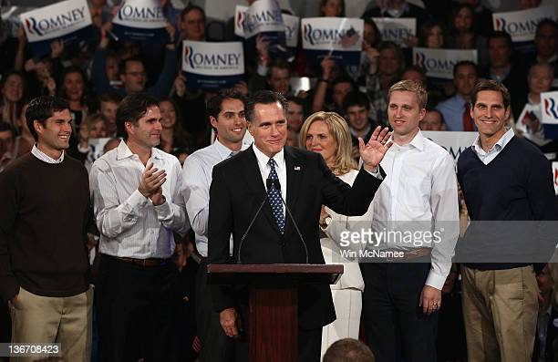 Republican presidential candidate and former Massachusetts Gov Mitt Romney speaks during his primary night rally with members of his family Matt Tagg...