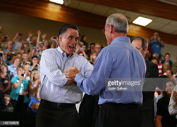 Republican presidential candidate and former Massachusetts Gov Mitt Romney greets supporters during a campaign event at the Jefferson County...