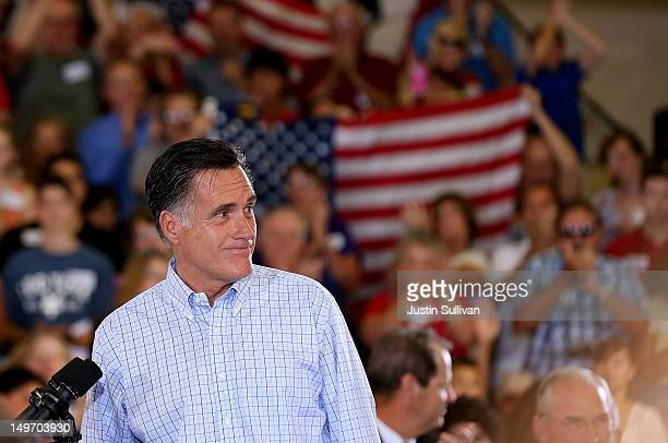 Republican presidential candidate and former Massachusetts Gov Mitt Romney speaks during campaign event at the Jefferson County Fairgrounds on August...