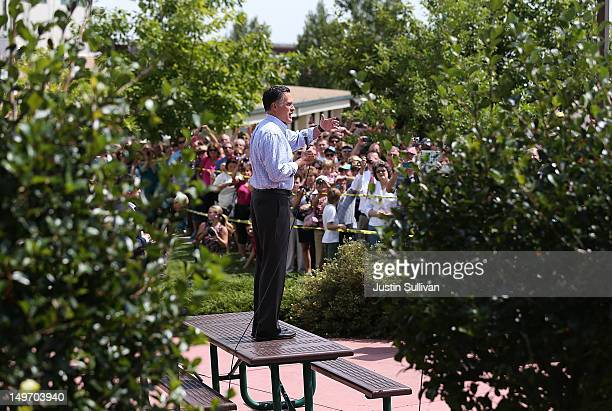 Republican presidential candidate and former Massachusetts Gov Mitt Romney speaks to an overflow crowd during a campaign event at the Jefferson...
