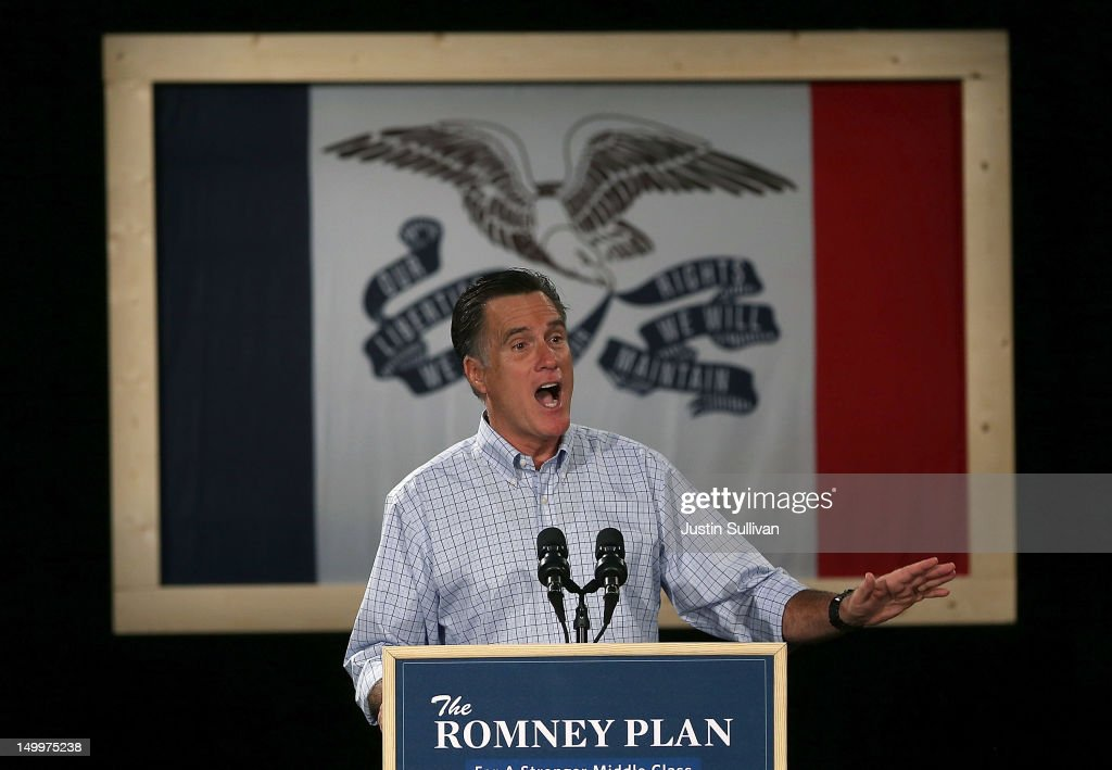Republican presidential candidate and former Massachusetts Gov. Mitt Romney speaks during a campaign event at Central Campus High School on August 8, 2012 in Des Moines, Iowa. Mitt Romney is campaigning in Iowa before traveling to New Jersey and New York for fundraising events.