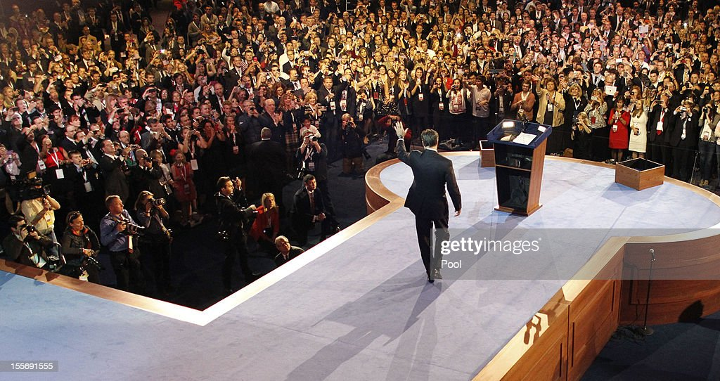 Republican Presidential Candidate Mitt Romney Holds Election Night Gathering In Boston : News Photo