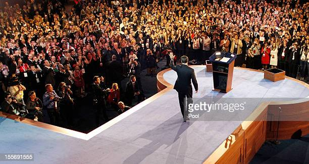 Republican presidential candidate and former Massachusetts Gov Mitt Romney greets supporters as he concedes the presidency during his campaign...