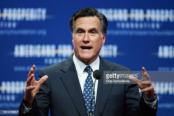 Republican presidential candidate and former Massachusetts Governor Mitt Romney addresses the Defending the American Dream Summit at the Washington...