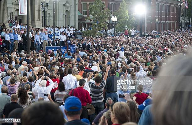 US Republican presidential candidate and former Massachusetts Governor Mitt Romney speaks during a campaign event at the Ross County Court House in...