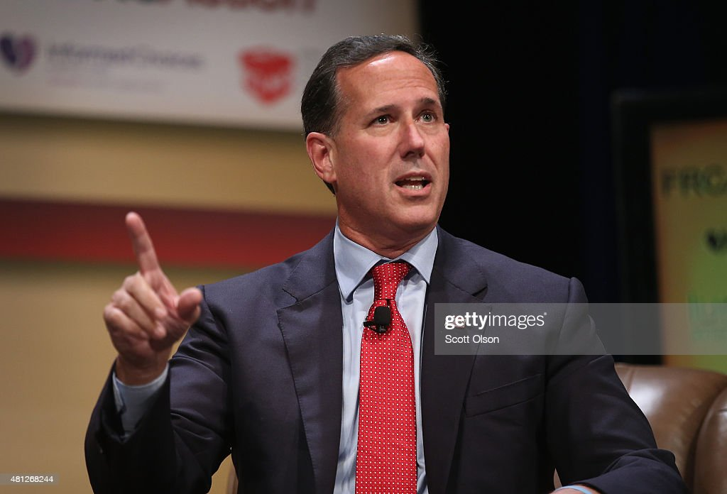 Republican presidential candidate and former Pennsylvania Senator Rick Santorum fields questions at The Family Leadership Summit at Stephens Auditorium on July 18, 2015 in Ames, Iowa. According to the organizers, the purpose of The Family Leadership Summit is to inspire, motivate, and educate conservatives.