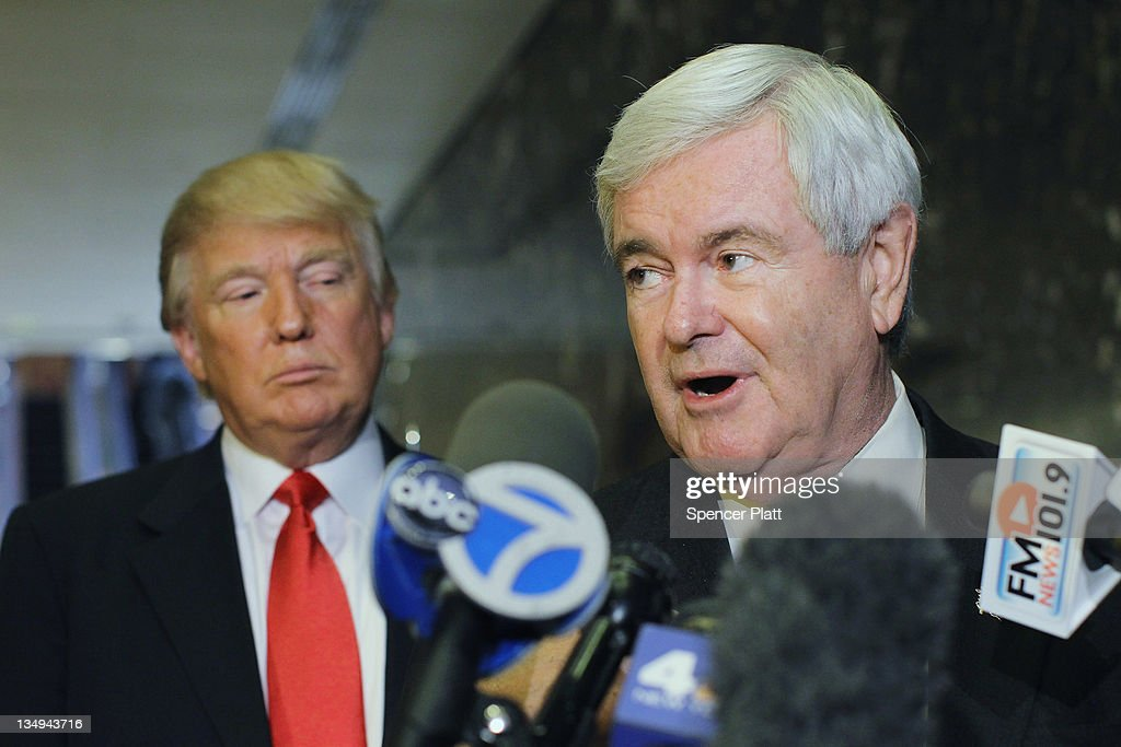 GOP Presidential Hopeful Newt Gingrich Meets With Donald Trump In New York