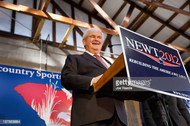 Republican presidential candidate and former Speaker of the House Newt Gingrich speaks during a campaign stop at the Low Country Sportsmen BBQ for...