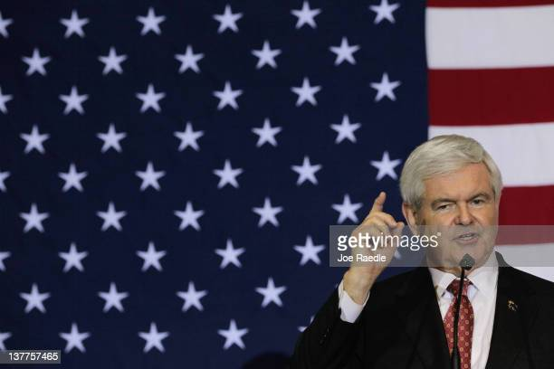Republican presidential candidate and former Speaker of the House Newt Gingrich speaks at a Space Coast Town Hall Meeting on January 25 2012 in Cocoa...