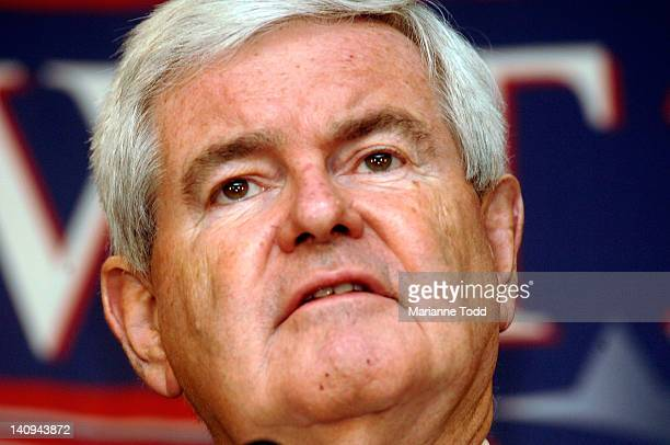 Republican presidential candidate and former Speaker of the House Newt Gingrich speaks at a rally at the Jackson Hilton on March 8 2012 in Jackson...