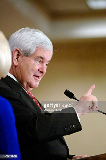 Republican presidential candidate and former Speaker of the House Newt Gingrich speaks at a rally with his wife Callista Gingrich at the Jackson...