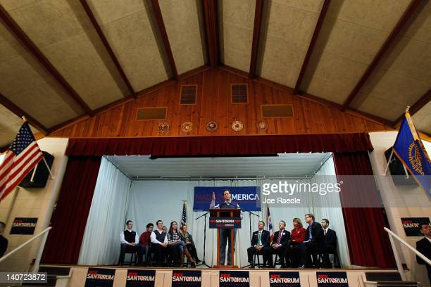 Republican presidential candidate and former U.S. Sen. Rick Santorum speaks during a campaign rally at an American Legion on March 5, 2012 in...
