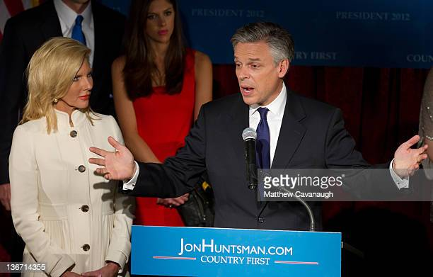 Republican presidential candidate and former Utah Gov Jon Huntsman speaks during a primary night rally with his wife Mary Kaye at the Black Brimmer...