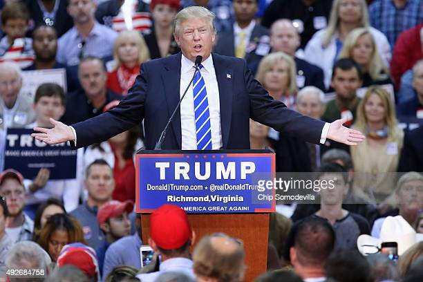 Republican presidential candidate and frontrunner Donald Trump addresses a crowd of more than seven thousand people during a campaign rally at the...