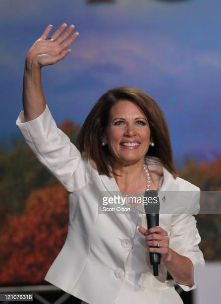 Republican presidential candidate and Minnesota congresswoman Michele Bachmann speaks at the Iowa Straw Poll which is being held at Iowa State...