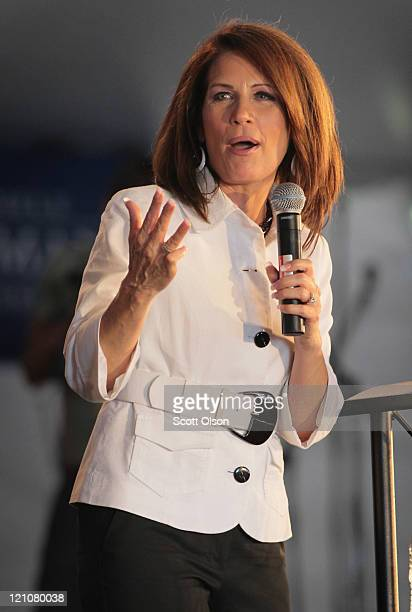 Republican presidential candidate and Minnesota congresswoman Michele Bachmann speaks to supporters at the Iowa Straw Poll at Iowa State University...