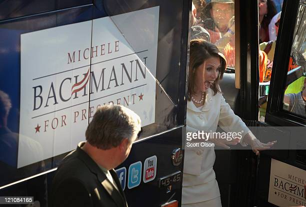 Republican presidential candidate and Minnesota congresswoman Michele Bachmann speaks to supporters following her victory in the Iowa Straw Poll at...
