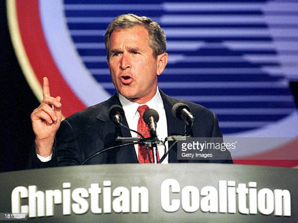 Republican Presidential candidate and Texas Governor George W Bush speaks before the annual convention of the Christian Coalition October 1 1999 in...