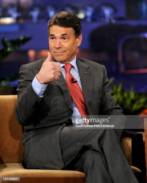 Republican presidential candidate and Texas Governor Rick Perry appears on the Tonight Show With Jay Leno at NBC Studios on December 1 2011 in...