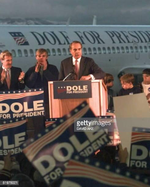 Republican presidential candidate and US senator Bob Dole addresses a 'Dole for President Rally' in Grand Junction Colorao 22 February Senator Dole...