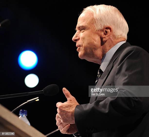 Republican Presidential Candidate Arizona Senator John McCain addresses the American Israel Public Affairs Committee on June 2 2008 in Washington DC...