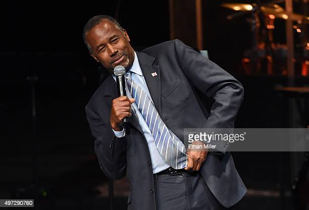 Republican presidential candidate Ben Carson describes how he tried to stab someone when he was a youth as he speaks at the International Church of...
