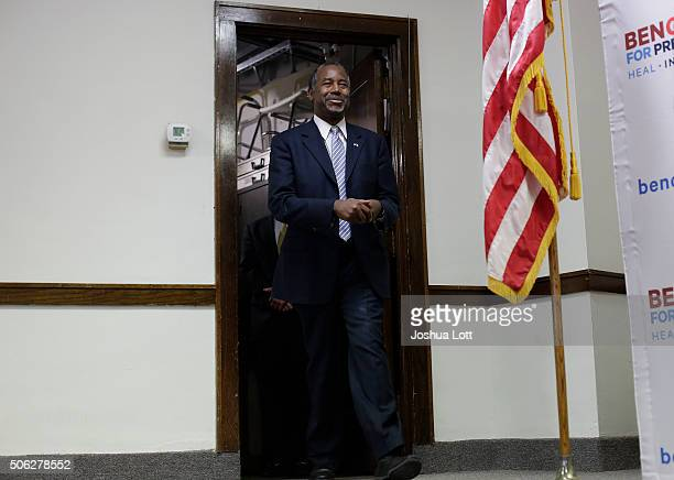 Republican presidential candidate Ben Carson is introduced during his Trust in God Townhall campaign stop January 22 2016 in Mt Ayr Iowa Carson who...