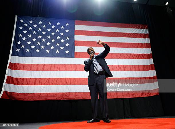 Republican presidential candidate Ben Carson speaks during a campaign rally at the Anaheim Convention Center September 9 2015 in Anaheim California...