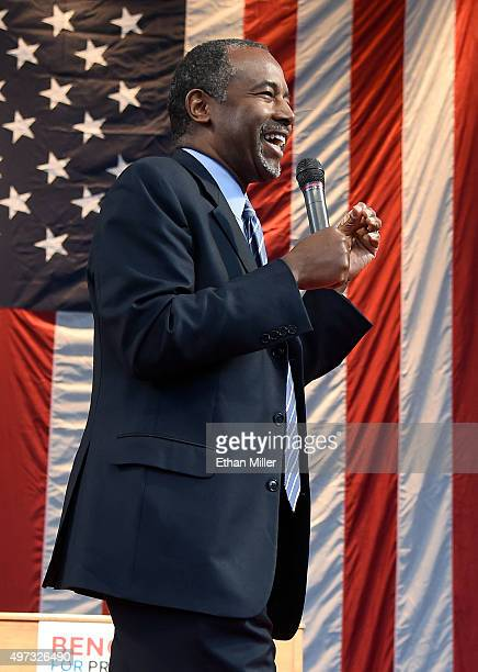 Republican presidential candidate Ben Carson speaks during a campaign rally at the Henderson Pavilion on November 15 2015 in Henderson Nevada Carson...