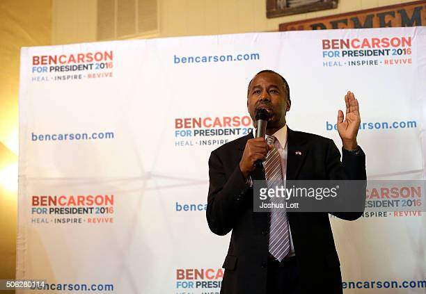 Republican presidential candidate Ben Carson speaks during his 'Trust in God Townhall' campaign stop January 22 2016 in Creston Iowa Carson who is...