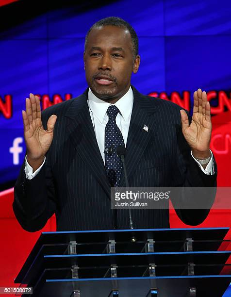 Republican presidential candidate Ben Carson speaks during the CNN presidential debate at The Venetian Las Vegas on December 15 2015 in Las Vegas...