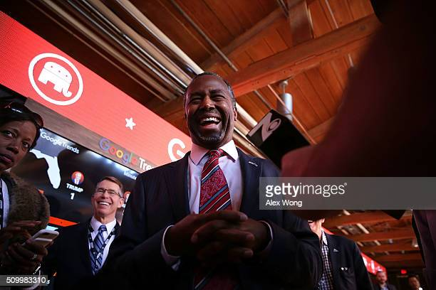 Republican presidential candidate Ben Carson speaks to members of the media in the spin room prior to a CBS News GOP Debate February 13 2016 at the...