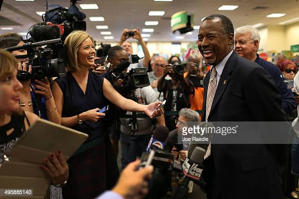 Republican presidential candidate Ben Carson speaks to the media during a stop to sign his book at a Barnes and Noble store on November 5 2015 in...