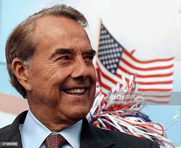 Republican presidential candidate Bob Dole waits to be introduced at a campaign rally in Findlay OH 11 October Dole is in the second day of a two day...