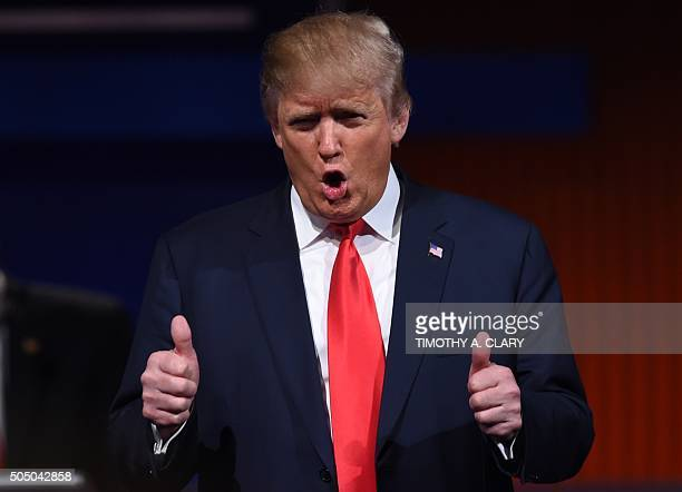 Republican Presidential candidate businessman Donald Trump gestures during the Republican Presidential debate sponsored by Fox Business and the...