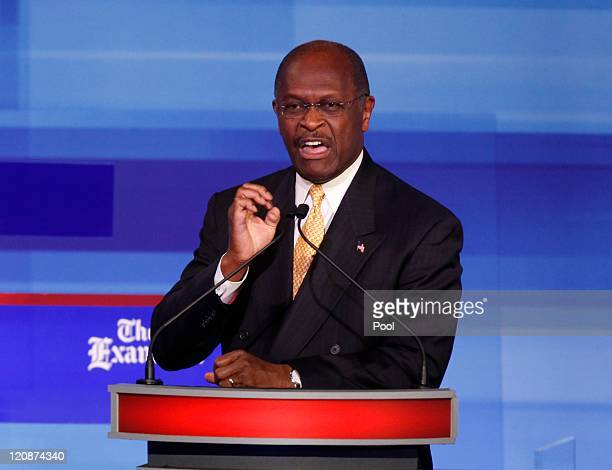 Republican presidential candidate businessman Herman Cain speaks during the Iowa GOP/Fox News Debate on August 11 2011 at the CY Stephens Auditorium...