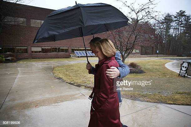 Republican presidential candidate Carly Fiorina and her husband Frank Fiorina arrive together for a Timberland Town Hall at the Timberland Global...