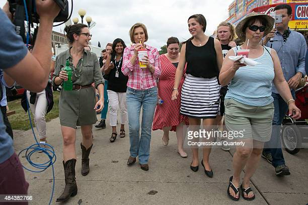 Republican presidential candidate Carly Fiorina drinks her diabetic lemonade at the Iowa State Fair in Des Moines Iowa Monday August 17 2015...