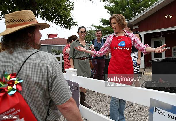 Republican presidential candidate Carly Fiorina greets fairgoers at the Iowa Pork Producers Pork Tent during the Iowa State Fair on August 17, 2015...