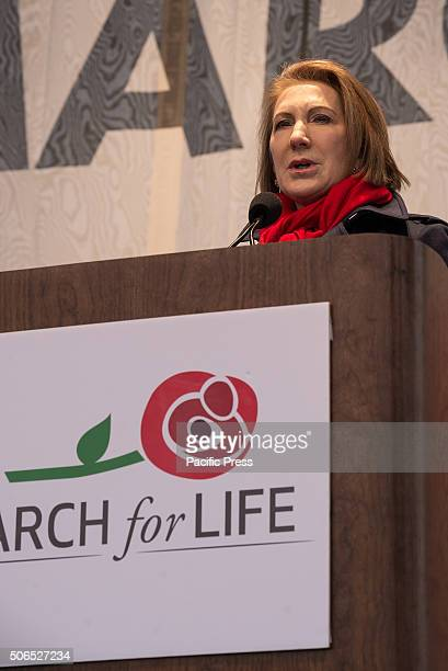 Republican Presidential candidate Carly Fiorina speaks at the rally preceding the March for Life' Tens of thousands of ProLife supporters rallied in...