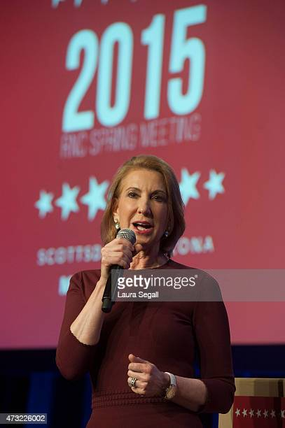 Republican presidential candidate Carly Fiorina speaks during the welcome reception at the Republican National Committee Spring meeting May 13 2015...