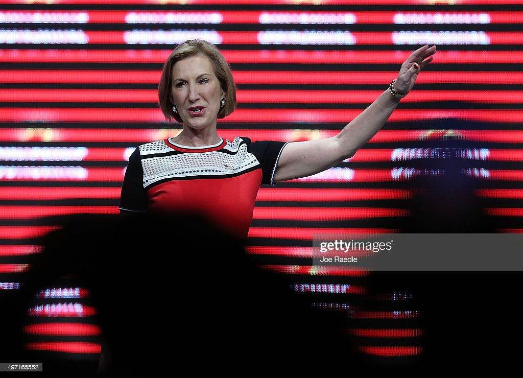 Republican presidential candidate Carly Fiorina speaks during the Sunshine Summit conference being held at the Rosen Shingle Creek on November 14, 2015 in Orlando, Florida. The summit brought Republican presidential candidates in front of the Republican voters.