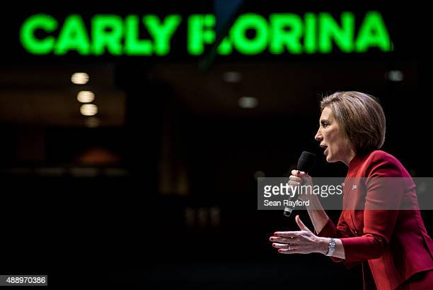 Republican presidential candidate Carly Fiorina speaks to voters at the Heritage Action Presidential Candidate Forum September 18 2015 in Greenville...