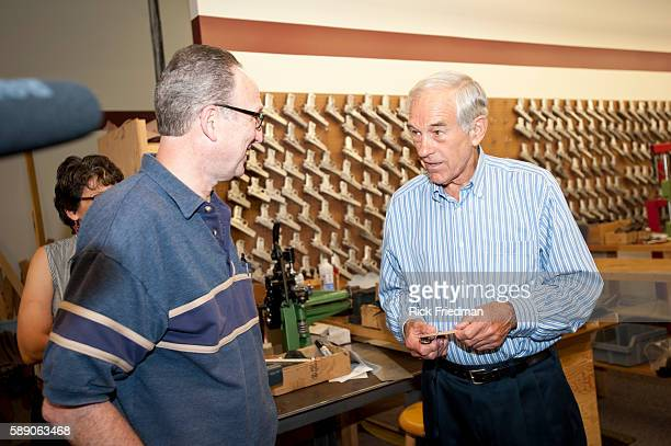 Republican presidential candidate Congressman Ron Paul campaigning with Mitch Rosen at Mitch Rosen Leather in Manchester, NH. Mitch Rosen Leather...
