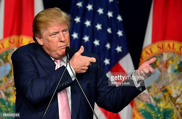 Republican presidential candidate Donald J. Trump attends a campaigns rally In Florida at the Trump National Doral on October 23, 2015 in Doral,...