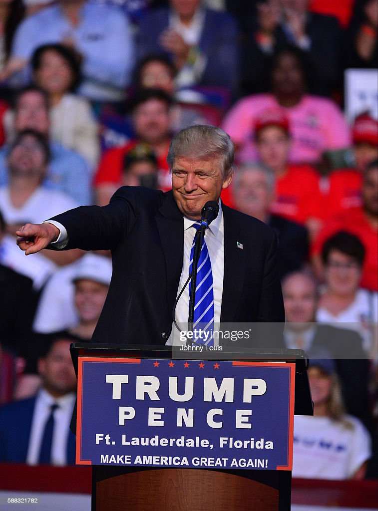 Republican presidential candidate Donald J.Trump addresses the audience during a campaign event at BB&T Center on August 10th, 2016 in Sunrise, Florida.