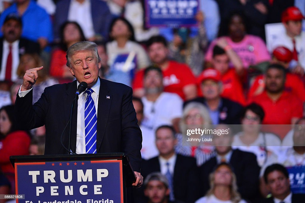 Republican presidential candidate Donald J.Trump addresses the audience during a campaign event at BB&T Center on August 10, 2016 in Sunrise, Florida.