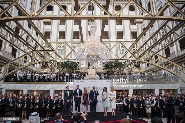 Republican presidential candidate Donald Trump accompanied by from left Donald Trump Jr Eric Trump Trump Tiffany Trump Melania Trump and Ivanka Trump...