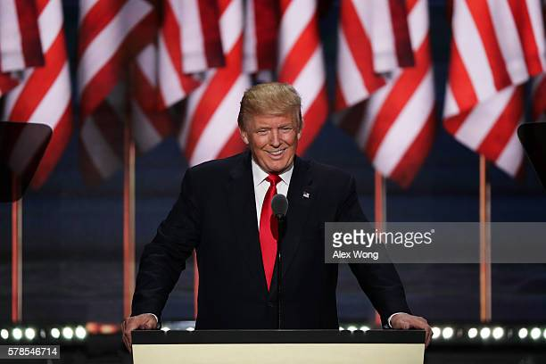 Republican presidential candidate Donald Trump acknowledges the crowd after his daughter Ivanka Trump introduced him during the evening session on...